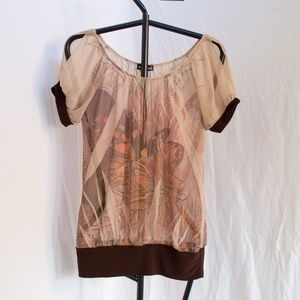 Wet Seal Brown Butterfly Sheer Top Size Small